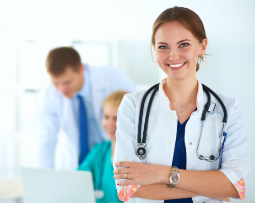 female-doctor-in-front-of-medical-group